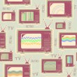 Tv seamless pattern.Vintage background on old texture — Imagen vectorial