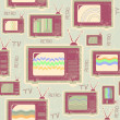 Tv seamless pattern.Vintage background on old texture — 图库矢量图片
