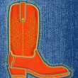 Cowboy shoe on blue jeans background.Vector boot symbol — Stock Vector
