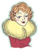 Vintage trevlig kvinna portrait.vector illustration isolerade på whit — Stockvektor