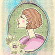Vintage woman portrait with romantic frame.Vector illustration - Stock Vector