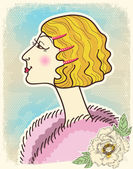 Vintage fashion woman.Vector illustration on old card — Stock Vector