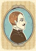复古绅士的脸 portraits.vector 图 — 图库矢量图片