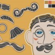Gentleman face and mustaches.Vector fashion elements for design - Stock Vector