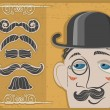 Vintage gentleman face in bowler hat and mustaches on old paper - Stock Vector