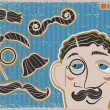 Vintage gentleman face and mustaches on old paper texture - Stock Vector