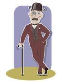 Vintage gentleman in black bowler hat and cane.Vector color illu — Stock Vector
