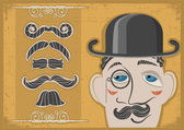 Vintage gentleman face in bowler hat and mustaches on old paper — Stock Vector