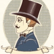Elegant gentleman in a top black hat.Vector vintage portrait wit - Stockvectorbeeld