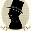 Gentleman in a a hat and mustache.Vector face silhouette - Stockvektor