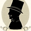 Gentleman in a a hat and mustache.Vector face silhouette - Stockvectorbeeld