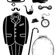 Gentleman retro suit and Accessories.Vector symbol isolated for - Stock Vector