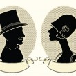 Man and woman portraits.Vector vintage image — Stock Vector