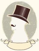 джентльмен в верхней черная шляпа и усы.векторный силуэт лица — Cтоковый вектор