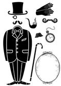 Gentleman retro suit and Accessories.Vector symbol isolated for — Stock Vector