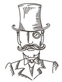 Retro man portrait in a top black hat.Vector graphic illustratio — Stock Vector
