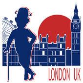 在黑色的礼帽帽子和手杖在伦敦背景上的绅士. — 图库矢量图片