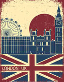 London landmark.Vintage background with England flag on old pos — Stock Vector