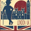 English gentleman in black bowler hat and cane.Vintage London ba — Stock Vector