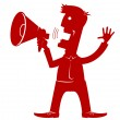 Man with loudspeaker.Vector red silhouette on white - Stok Vektör