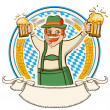 Oktoberfest .Vector label with man and glasses of beer — Stock Vector