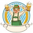 Oktoberfest .Vector label with man and glasses of beer — Imagen vectorial