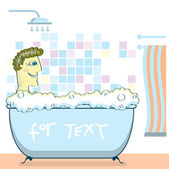 Man die een douche nemen in een bathroom.vector-afbeelding — Stockvector
