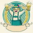 Oktoberfest .Vintage label with man and glasses of beer on old b — Stock Vector