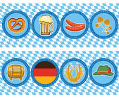 Beer elements with oktoberfest symbol.Vector labels — Stock Vector