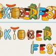 Beer oktoberfest lettersl.Vector text illustration isolated on w — Stock Vector