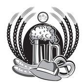 Piva oktoberfest symbol.black grafické ilustrace na bílém pozadí — Stock vektor