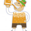 Man drinking a lot of beer.Vector oktoberfest illustration isola — Stock Vector