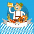 Oktoberfest symbol kabel with man and beer.Vector color illustra — Stock Vector