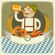 Vintage oktoberfest posterl label with man and beer.Vector illus — Stock Vector