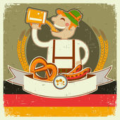 Vintage oktoberfest posterl with German man and beer.Vector ill — Stock Vector