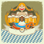 Vintage oktoberfest symbol label with girl and beer on old paper — Stock Vector