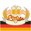 Oktoberfest background with hands and beers.Vector illustration  — Stock Vector
