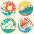 Vintage sun and sea waves. Vector icons of illustration of seas — Stock Vector