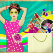 Young woman in pink dress .retro shopping poster background — Stock Photo #28580091