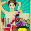 Retro young woman with fashion accessories on old poster — Stock Photo #28580035