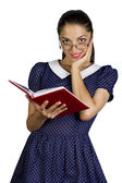 Young woman with eyeglasses.Attractive student with book isolate — Stock Photo