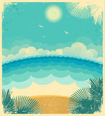 Vintage seascape.Vector background with sea and sun on old paper — Stock Vector