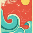Vintage tropical background with sea waves and sun — Stock Vector #29591547