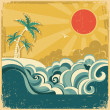 Vintage nature tropical seascape background with palms .Vector p — Stock Vector