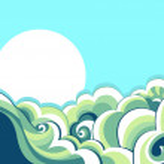 Sea waves. Vintage illustration of sea landscape — Stock Vector