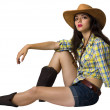 Young cowgirl.Beautifull girl with cowboy hat and shoes — Stock Photo #29901727