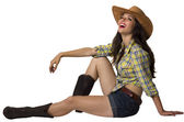 Nice smiling woman in cowboy clothes isolated for design — Stock Photo