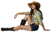 Young cowgirl.Beautifull girl with cowboy hat and shoes — Stock Photo