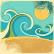 Vintage nature sea with waves and sun.Vector retro poster on old — Stock Vector