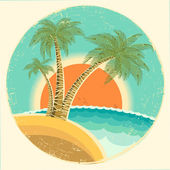 Vintage Exotic tropical island with palms and sun on round symbo — Stock Vector
